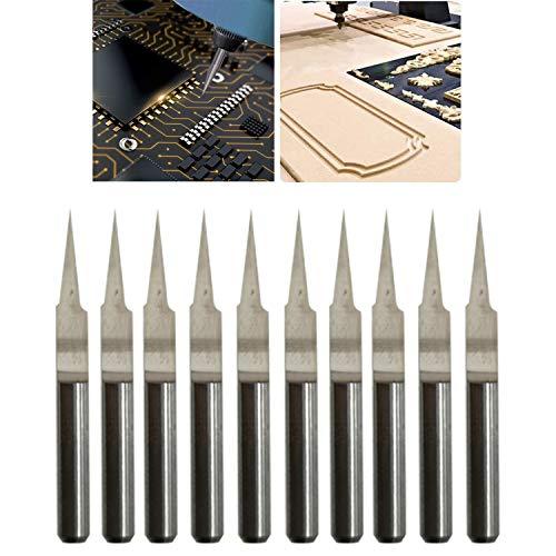 CESFONJER CNC Gravierstichel, 3,175 mm 10 ° Carbide Gravur Bit, 0,1 mm, Spitze Gravur Messer CNC-Router-Tools für Leiterplatte (10er Pack)