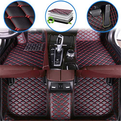 maiqiken Alfombrillas de coche personalizadas para Dodge Challenger 2004-2014, 2015-2019 cuero de lujo impermeable antideslizante cobertura completa frente y trasero cojín/Set (negro rojo)