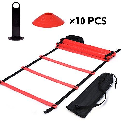 Kit de Entrenamiento Agilidad Velocidad - Escalera de Entrenamiento 12 Peldaños Ajustables + 10pcs Conos de Entrenamiento ( Color : Rojo )
