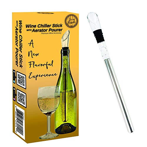 Guay Bebida Weinkühler Stiel und Belüfter – In Flasche Weinkühler Kühlstab mit Belüfter – Premium Weinzubehör für eislosen gekühlten Wein fein farblos