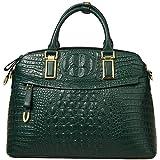 Genuine Leather Handbags for Women【Full-grain Cowhide】Top-handle Bags Embossed Crocodile Satchel Purses