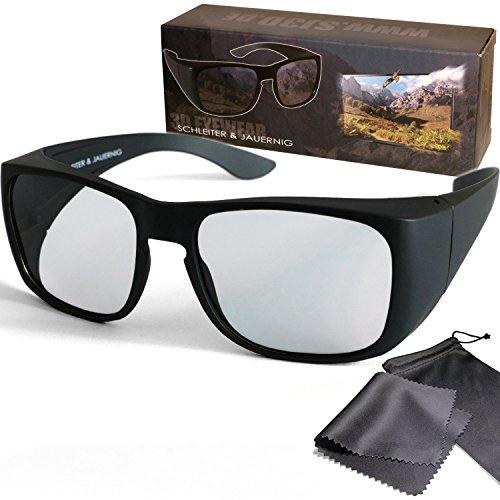 SJ3D Passive 3D Brille - Überziehbrille für Brillenträger oder ohne Brille - Polfilterbrille zirkular polarisiert - Für RealD 3D Kino & TV: LG Cinema 3D Philips Easy 3D Telefunken Toshiba 3D Natural Vizio 3D und 3DTVs von SONY Grundig Panasonic Hisense CMX uvm. - Inkl. Mikrofaser Brillenbeutel und Putztuch
