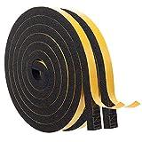 Magzo, guarnizione per porta autoadesiva, 12 mm x 10 mm, in gommapiuma, nastro adesivo in gomma espansa, guarnizione per porte e finestre, 4 m (2 m di lunghezza x 2 rotoli)