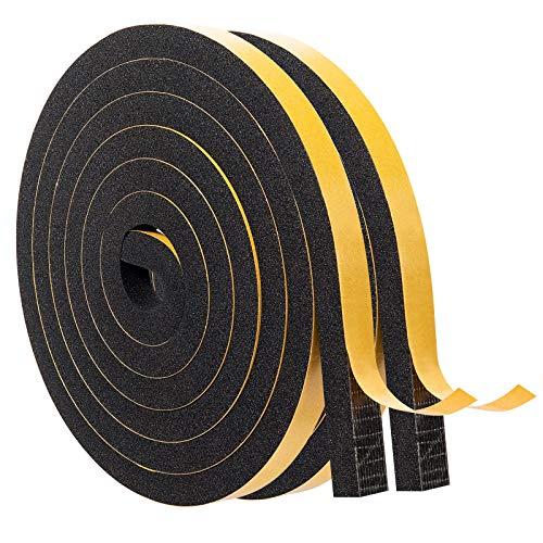 MAGZO Tira de Sellado Junta de Goma 12 mm x 10 mm, Tiras de Espuma para Ventanas de Puertas, Cinta de Espuma Autoadhesiva Fuerte, Colisión 4 m (2m de Largo x 2 Rollos)Negro