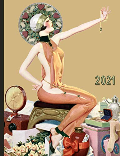 Vintage Pinup Girl with Flowers Jewelry and Gifts : 2021 Schedule Planner and Organizer / Weekly Calendar