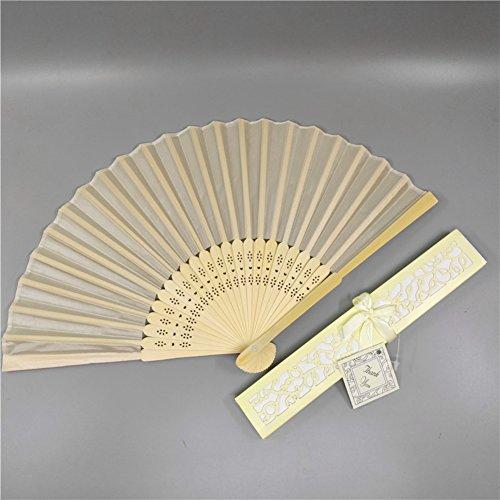 Coco Said - 20 abanicos de Seda Blancos para Boda, abanicos Plegables de bambú para Invitados, Caja de Regalo con Tarjeta de Cinta, Beige