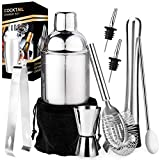 Stainless Steel Bartender Kit, Cocktail Shaker Bar Set with Martini Kit,Double Measuring Jigger,Mixing Spoon,Liquor Pourers,Muddler,Strainer and Ice Tongs| Professional Bartender Drink Making Tools