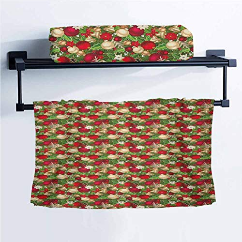 ScottDecor Christmas Yoga Towel Universal Cleaning Cloth Tree Branches Balls Bells Cones Poinsettia Flowers Mistletoe Berry Gold White Red and Green 10' W x 40' L