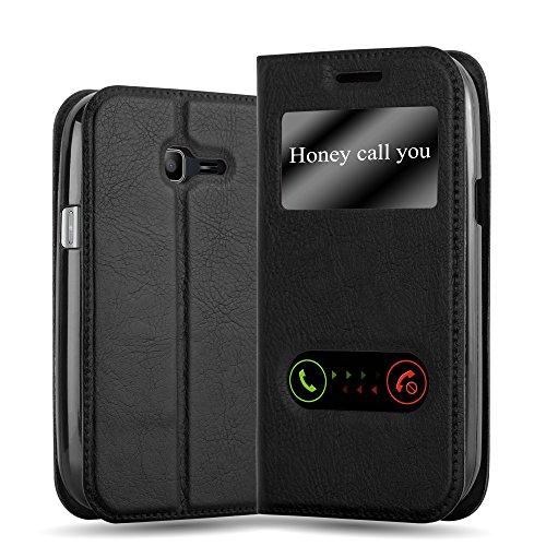 Cadorabo Custodia Libro per Samsung Galaxy Trend Lite in Nero COMETA - con Funzione Stand e Chiusura Magnetica - Portafoglio Cover Case Wallet Book Etui Protezione