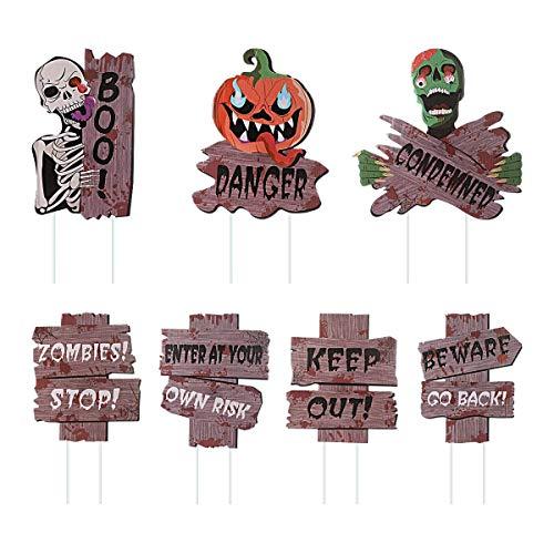 MIMORE - Letreros de Halloween para decoración al aire libre, suministros para fiestas de zombies, acera de césped y patio (juego de 7 piezas, 13.7 x 12.6 pulgadas)
