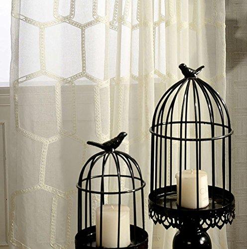 Rideaux et rideaux Sheer Curtains Forme de nid d'abeilles Polyester Pour Traitements de fenêtre Produit fini Salon Haut à oeillets Un panneau , blanc , 1pc(150*270 cm)