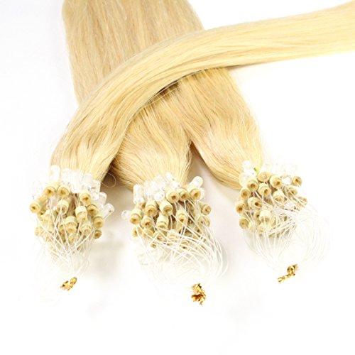 Hair2Heart 25 x 1g Microring Loop Extension Capelli Veri - 60cm - Liscio, Colore #22 Biondo Chiaro