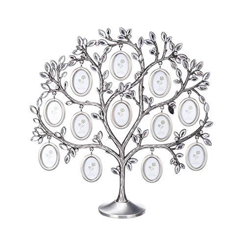 Elibeauty Baum-Bilderrahmen mit 12 hängenden Bilderrahmen aus Metall, Tischplatte, Fotorahmen, Dekoration für Familienbild