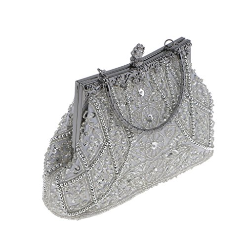 Damen Pailletten Abendtasche Clutch Damenhandtasche Wedding Ladies Party - Silber