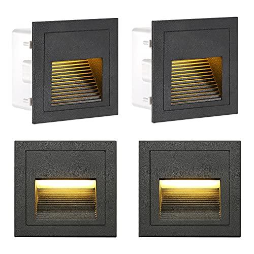 Aplique empotrado de pared de 3 W, blanco cálido, IP65, impermeable, luces de escalera, luces de marcha y aluminio, decoración para interiores