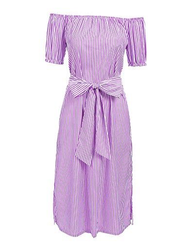 Meaneor Damesjurk met carmen en gestreepte sleuf en schoudervrij, korte mouwen, zomer, blousejurk met riem