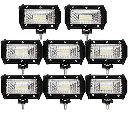 Leetop 8X 72W LED Arbeitsscheinwerfer Off-Road Scheinwerfer Bar Fernlicht 12V-24V Reflektor Lampen IP67 Wasserdicht Zusatzscheinwerfer Flutlicht für Auto Jeep Traktor SUV