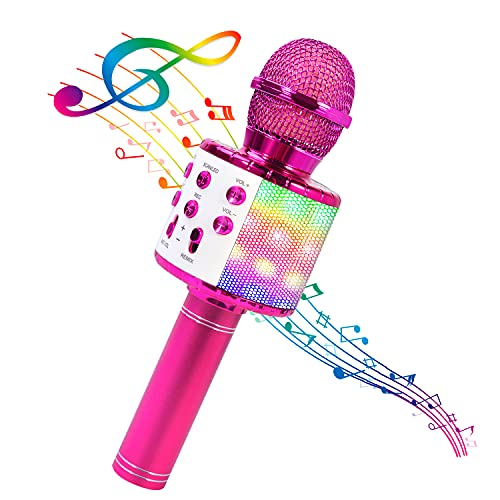 BlueFire Bluetooth 4 in 1 Karaoke Wireless Microphone with LED Lights, Portable...