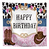 Allenjoy 8x8ft West Cowboy Cowgirl Theme Birthday Party Backdrop Wild West Rodeo Cowboy Photography Background Cow Bunting Kids Party Invitation Decoration Cake Table Banner Photobooth Studio Props
