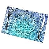 UPNOW Tovagliette con Stampa Floreale Vintage Blu Tovagliette per Tavolo da Pranzo Set di 6 Tappetini da Cucina Antiscivolo Facili da Pulire Resistenti al Calore