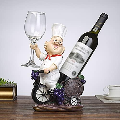 Rvlaugoaa Soporte para Botella De Vino Chef Wine Rack DecoracióN Adorno Hogar Sala De Estar Cocina Comedor Bar Tablero De Mesa Botella Individual Soporte De Vino Figura De Resina Escultura Estatua
