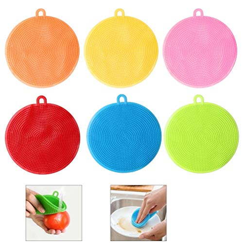 nuoshen 6 pcs Silicone Sponge, Antibacterial Kitchen Silicone Scrubber Silicone Dish Washing for Pot Pan Dish Bowl Fruit Vegetable