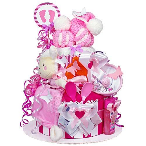 MomsStory - Windeltorte Mädchen | Baby-Geschenk zur Geburt Taufe Babyshower | 2 Stöckig (Rosa-Pink) mit Baby-Schuhchen Schnuffeltuch Lätzchen Schnuller & mehr