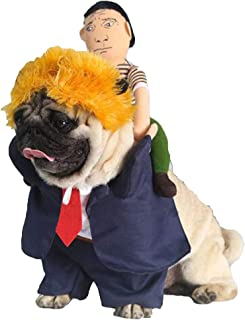 WORDERFUL Dog Trump Costume President Rider Standing Clothes Independence Day with Hat Cloth Soft 3pack for Dogs