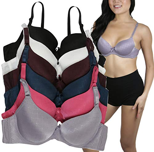 ToBeInStyle Women's Pack of 6 Jacquard Full Cup Bra with Underwire - 30A