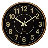 Foxtop Night Light Wall Clock 12 inch Silent Non-Ticking Large Numbers Battery Operated Glowing Function Indoor Clock for Living Room Bedroom Kitchen Home