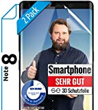 [2 Stück] 3D Schutzfolien kompatibel mit Samsung Galaxy Note 8 - [Made in Germany - TÜV NORD] – HD Bildschirmschutz-Folie - Hüllenfre&lich – Transparent – kein Schutz-Glas - Panzer-Folie TPU