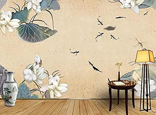 Lotus Fish Leaf Wandbilder Tapete wandpapier fototapete 3d effekt tapeten Wohnzimmer Schlafzimmer kinderzimmer-150cm×105cm