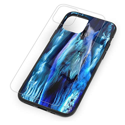 Ice Wolf Wallpapers iPhone 11 Case with Glass Screen Protector Cute Rose Marble Best Protective Slim Fit Clear Bumper Glossy TPU Phone Case