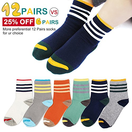 Queen-Ks Kids Boys and Girls Three Bars Toddler Striped Athletic Contrast Crew Cotton Socks Non Skid Sports 6 Pairs Seamless Small
