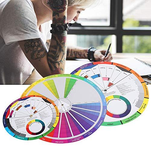 Tutoriel de mélange de couleurs, 3 pièces roue de couleur de tatouage planche de mélange de couleurs couleurs circulaires pour guide chromatique accessoires de tatouage roue d'encre de maquillage