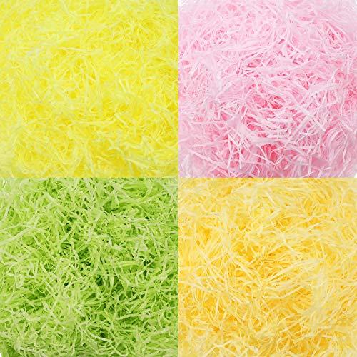 320 g 11,3 oz Papel en Tiras de Cesta de Pascua de Multicolor Papel de Seda Raffia Hierba Papel Arrugado Rallado para Rellenar Caja de Regalo (Conjunto de Colores 3)