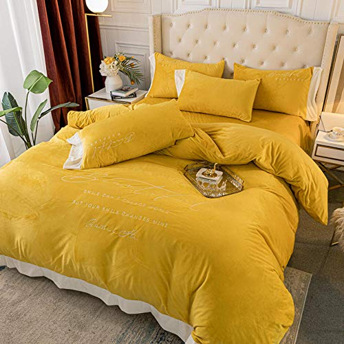 crushed velvet bedding single,Embroidered solid color baby velvet four-piece set autumn and winter coral velvet thickened milk quilt cover sheet-Pure color baby cashmere-emerald_2.0m bed 220*240 4pc