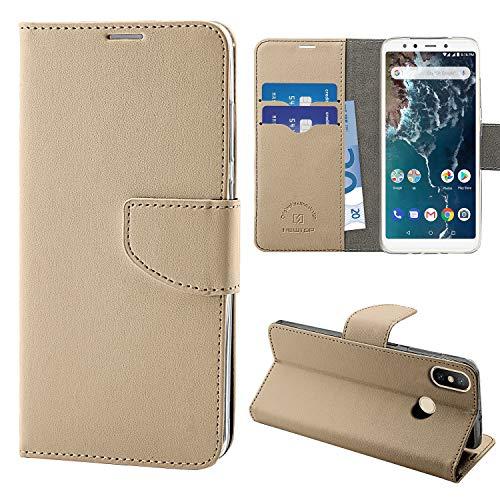N NEWTOP Cover Compatibile per Xiaomi Mi A2 Lite, HQ Lateral Custodia Libro Flip Chiusura Magnetica Portafoglio Simil Pelle Stand (Oro)