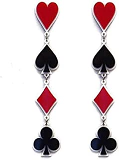 Dangle Poker Party Unique Players Big Card Earrings