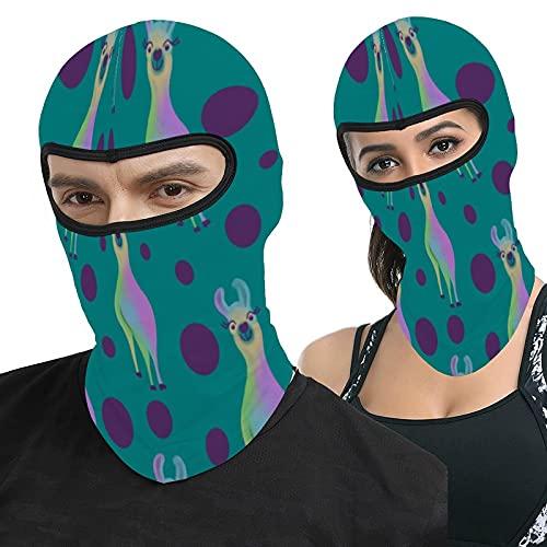Dotty Llama On Teal Full Face Ma-sk Hood Headwear Breathable Balaclavas for Outside Sports Hunting Cycling Motocycling Men Women