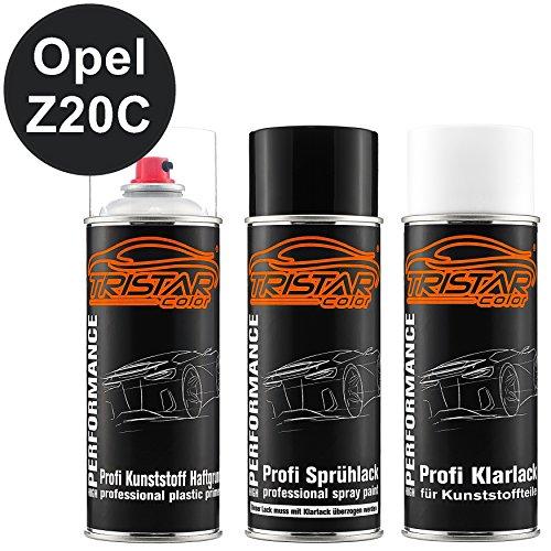 TRISTARcolor Autolack Spraydosen Set für Kunststoff Stoßstange für Opel Z20C Schwarz II/Black II Haftgrund Basislack Klarlack mit Weichmacher Sprühdose