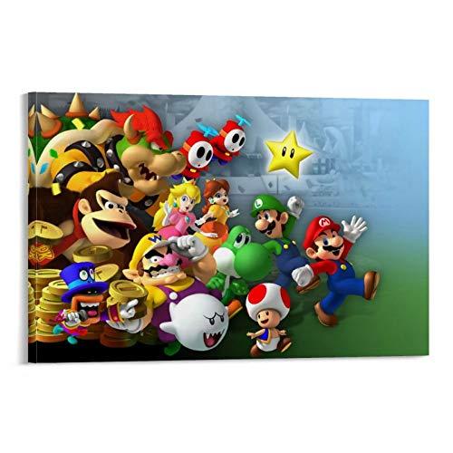 DRAGON VINES Mario Luigi Bowser Koopa Peach Yoshi Donkey Kong puede colgar pinturas para decoración de sala de estar familiar, 40 x 60 cm
