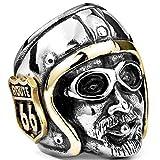 Cool Mens Boys Steel Biker Ringsn Jaguar Warrior Skull Punk Jewelry Gift For Him Gothic Men's Skull Ring, 8, Pic Show 4