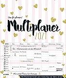 Multiplaner - Time for glamour 2021: Typo-Art Familienplaner, 7 breite Spalten. Schöner Familienkalender mit Ferienterminen, extra Spalte, Vorschau für 2022 und Herz-Datumsschieber. Format: 40x47 cm