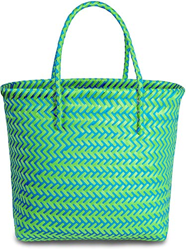 normani® Einkaufstasche Shopper geflochten aus Kunststoff - robuster Strandkorb Vintage Style 38cm x 25cm x 28cm Farbe Long Beach/Green/Blue
