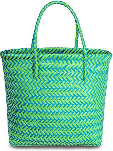 normani Kunststoff Flechtkorb - optimal als Einkaufs- oder Strandkorb geeignet Farbe Long Beach/Green/Blue