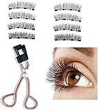 8D Quantum Magnetic Eyelashes With Soft Magnet Technology Multifunctional Magnetic Eyelash Curler Set No Glue Need Reusable Magnetic Falses Eyelashes (Slender Type, 2PCS)
