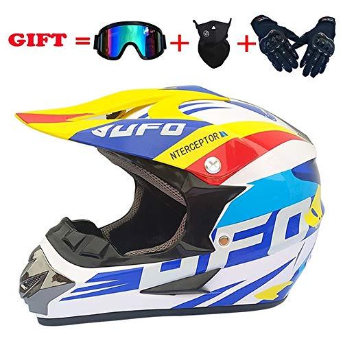 MXYMC Motorradhelm Cross Helme Schutzhelm Motocross Helm Für Motorrad Crossbike Off Road Enduro Sport Mit Handschuhe Sturmmaske Und Brille (S(52-56CM),Weiß blau)