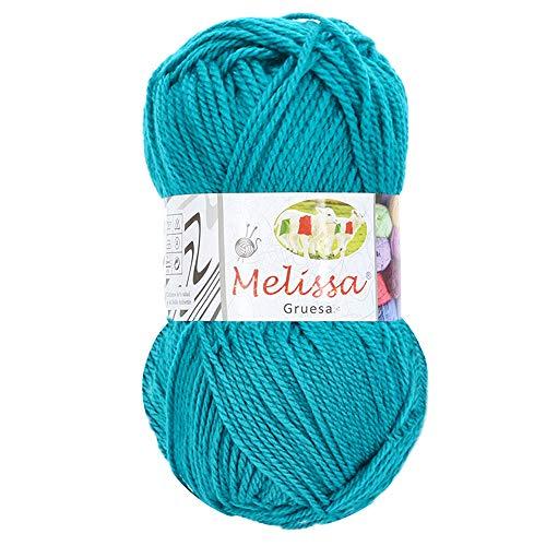 Melissa Hilo 100% Acrilico Ovillo de Lana (115m 100g * 1=50g * 2) Premium para DIY Tejer y Ganchillo, Certificado OEKO-TEX Standard 100,Agujas Talla 5(1/2)-6(1/2),Turquesa 569,Enviado desde Eu