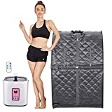 Anfan Portable Steam Sauna 2L Personal Home Sauna Spa for Weight Loss & Detox Relaxation w/Remote Control, Foldable Chair and Timer (29.5 x 35 x 40.3inch, Grey)